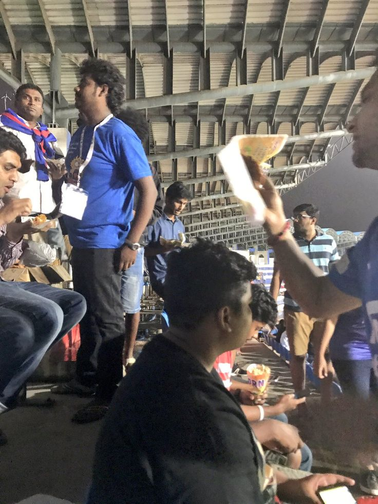Food/drink offerings coming round to your seats at Bengaluru FC's stadium in Bangalore.