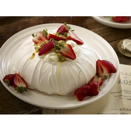 Pavlova recipe - By Australian Women's Weekly, There's nothing quite like a classic pavlova, the marshmallowy meringue piled high with cream, strawberries and lashings of passionfruit. This dessert never, ever gets old.#Desert