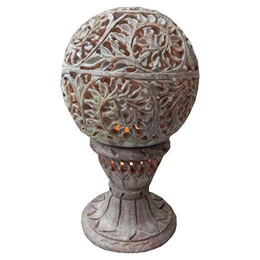 Teelichtlampe 18cm Schlingpflanze Pflanzenranke Rose Speckstein 2-teilig Windlicht