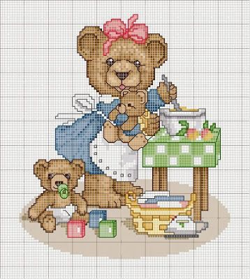 Embroidery, works and blueprints puntocroce free: Schemes Bears cross-stitch, free