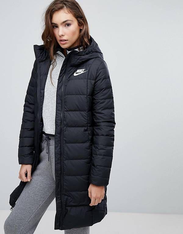 nike down filled long padded parka jacket bekleidung jacken