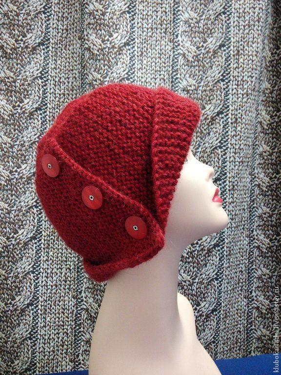 Купить шапочка-шляпка НАСТРОЕНИЕ - бордовый, рябинновый цвет, шапка вязаная, шляпка вязаная