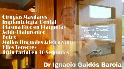 Jallalla Centro de Salud y Clinica Dental  Dr. Ignacio Galdós Barcia  Estética Facial  Whatsapp : + 56 9 84091574  Liftin Facial en 90 Segundos  Plasma Rico en Plaquetas  Ácido Hialurónico  Botox  Mallas Linguales Adelgazante  Hilos Tensores   Cirugias Maxilares Implantologia Dental