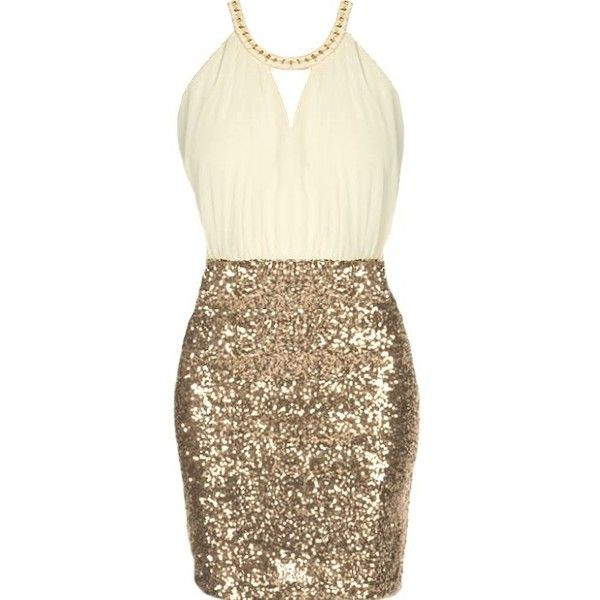 Vanilla Icing Dress (1,325 MXN) ❤ liked on Polyvore featuring dresses, vestidos, short dresses, halter mini dress, gold sparkly dress, brown cocktail dress, halter dress and halter cocktail dress