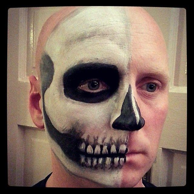 Realistic Half Skull Man Boy Guy Male Skeleton Face