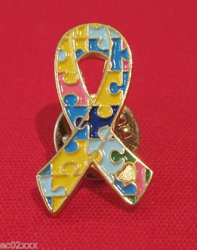 Autism Puzzle Ribbon Lapel Pin - Brad's Little Aussie Autism Shop