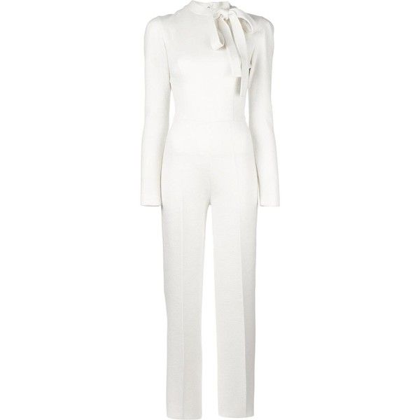 Ermanno Scervino neck tie longsleeved jumpsuit ($2,445) ❤ liked on Polyvore featuring jumpsuits, ermanno scervino, long sleeve jump suit, neck-tie, white necktie and jump suit