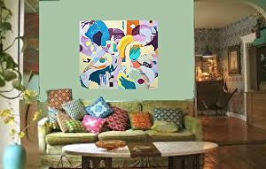 """""""Transparent""""  36X36X 1.5 on wood panel in a Living Room setting by Pamela Beer  ~  x"""
