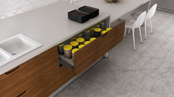 Muebles de cocina en lacado blanco y madera for Muebles de oficina kennedy