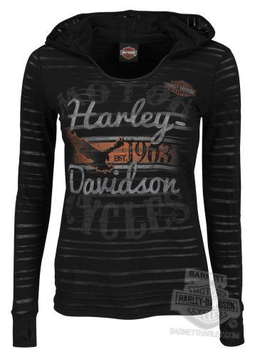 Harley-Davidson Womens I Wanna Ride Burnout with Hood Black Long Sleeve T-Shirt - XS Harley-Davidson (Womens)