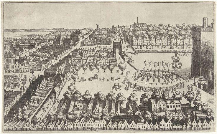 Vreugdevuren te Den Haag na de afkondiging van het bestand, 1609, Simon Frisius, 1609