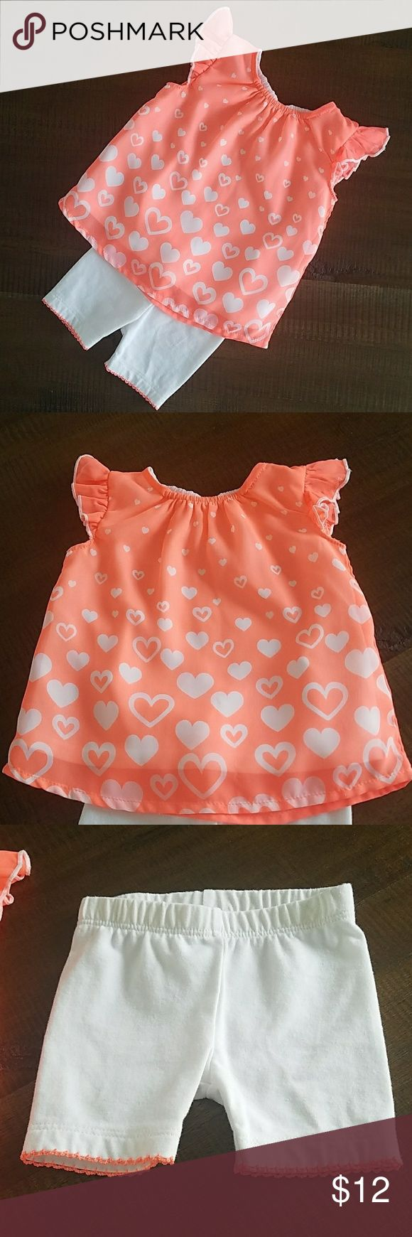 Baby girl outfit Baby girl size 0-3months peach colored outfit. Washed never worn. White spandex shorts with peach trim and a sweet baby doll orange heart top. Coming from a smoke free pet free closet.  💲BUNDLE AND SAVE Matching Sets