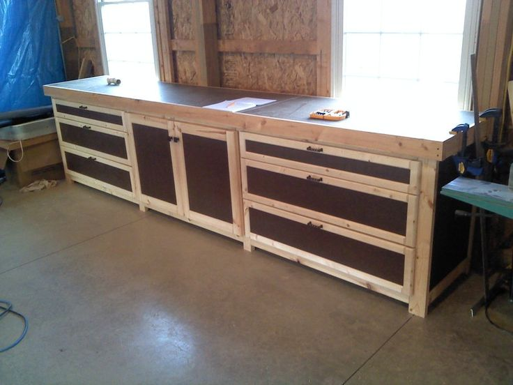 Shop cabinets storage by greg for Working table design ideas