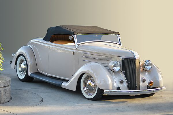 Ford Cabrio in cream and brown is a standout at the Los Angeles Roadster Show, Pomona California