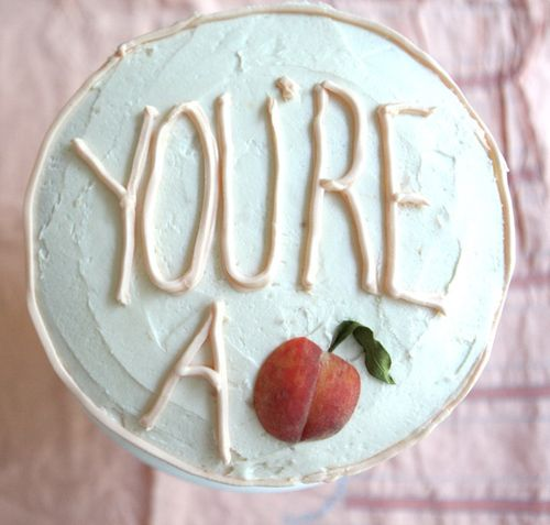 "Adorable! ""You're a peach!"" cake!Peaches Cake, Decor Ideas, Yellow Cake, Cake Design, Cute Ideas, Cake Ideas, Wedding Blog, Georgia Peaches, Birthday Cake"