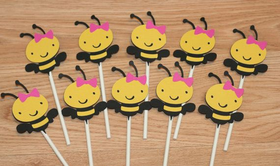 12 Girl Bee Cupcake Toppers, Bumble Bee Cupcake Toppers on Etsy, $11.99