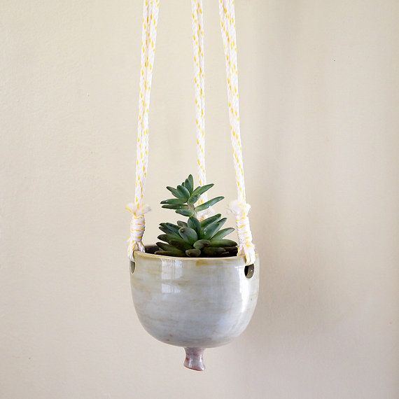 Ceramic Hanging Planter with Yellow and White by lovebugkiko, $78.00