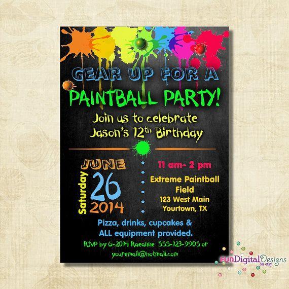 Birthday Paintball Party Invitation Birthday by FUNDigitalDesigns, $12.50
