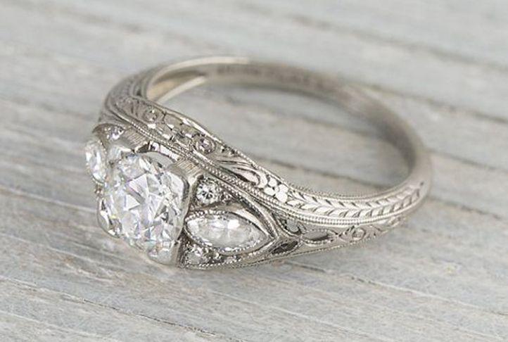 anillo de compromiso vintage eduardiano