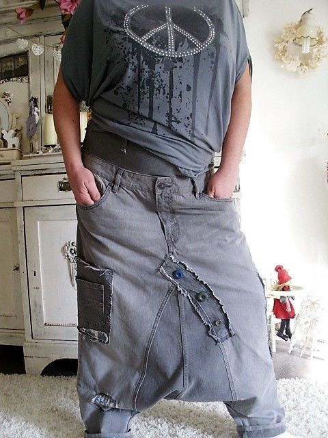 jeans patwork hippie haremshose rockabilly biker lagenlook boheme boy upcycling☻