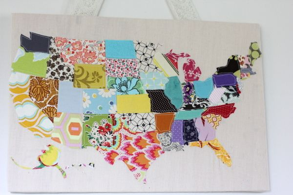 See kate sew: Fabric scrap map. Cute on a tote, a quilt, or hanging on a wall.