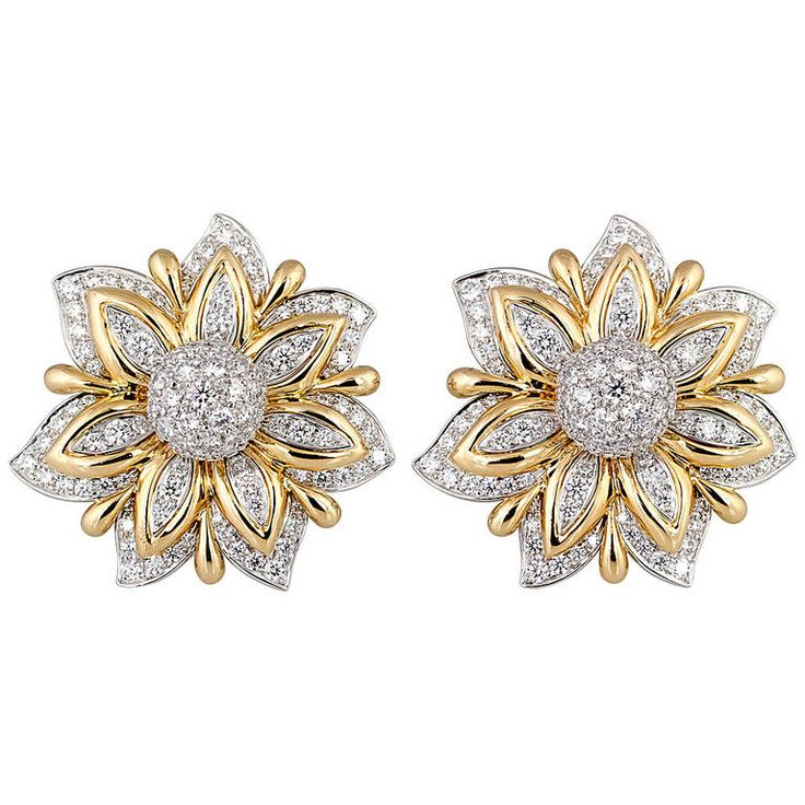 Verdura Diamond Gold Platinum Primrose Earclips | From a unique collection of vintage clip-on earrings at https://www.1stdibs.com/jewelry/earrings/clip-on-earrings/
