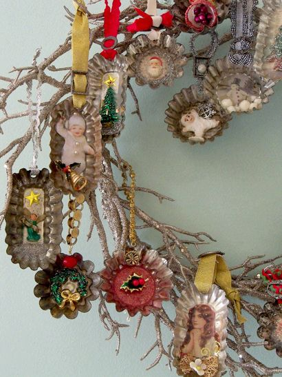 Vintage tins made into ornaments