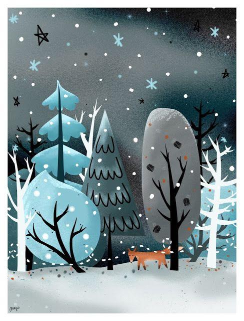 By Margo Dumin www.margolcia-dumin.blogspot.com  Winter time, fox, chriistmas, illustration, art, retro, vintage, children