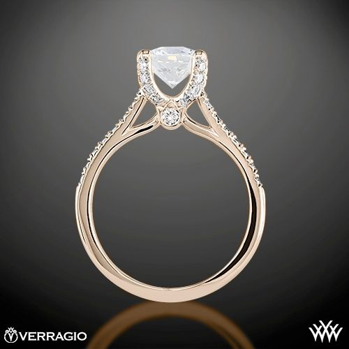 Rose Gold Verragio 4 Prong Pave Diamond Engagement Ring