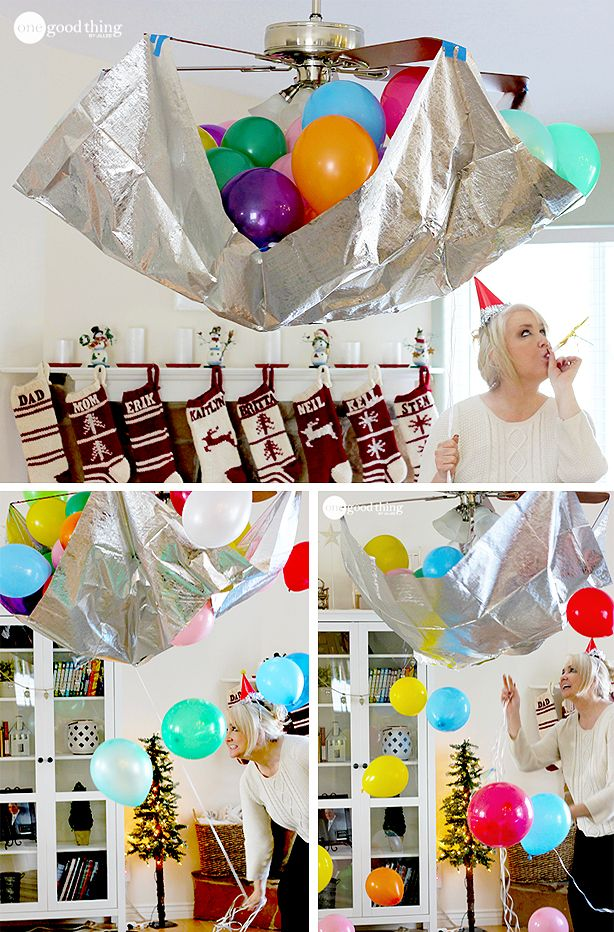 Fun ideas for an exciting and festive New Year's Party! Little ones will love this balloon drop :-):