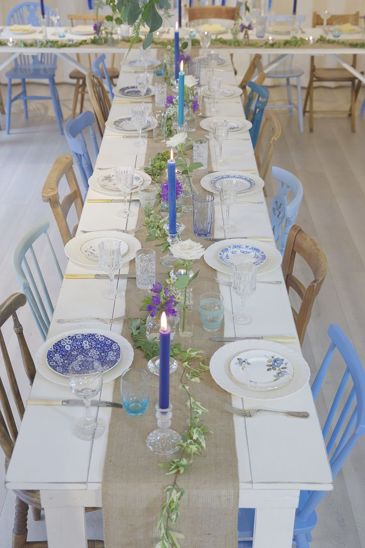 Blue and Natural Wood Vintage Chairs were used with our white trestle tables in a 't' shaped design for the wedding breakfast at @tamillcottages