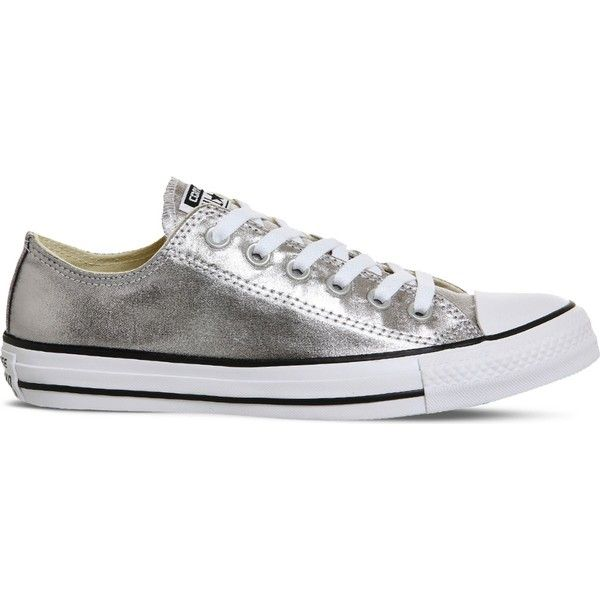 Converse Chuck Taylor All-Star metallic trainers ($49) ❤ liked on Polyvore featuring shoes, sneakers, metallic sneakers, star shoes, rubber sole shoes, vintage footwear and converse sneakers