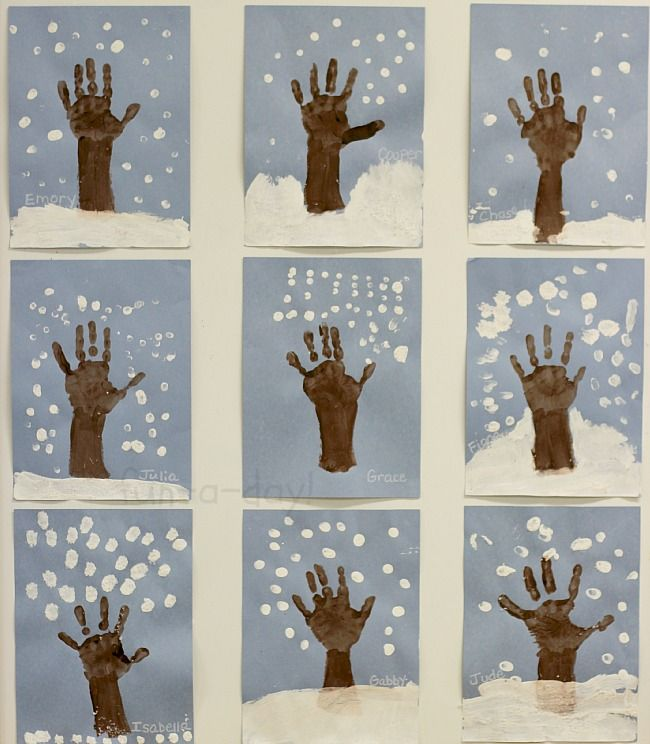 Winter hand print tree art to make with the kiddos! Talk about how trees change throughout the year as they use their hands and fingers to create art.