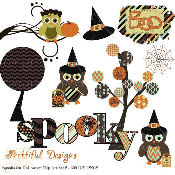 Halloween Clip Art for Personal or Commercial Use - Spooks On Set 2 (382)