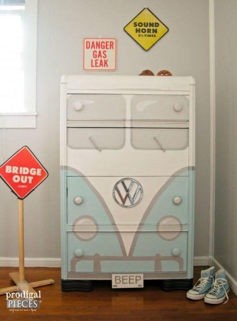 Volkswagen Bus Dresser Makeover - How to Revive Garage Sale Furniture