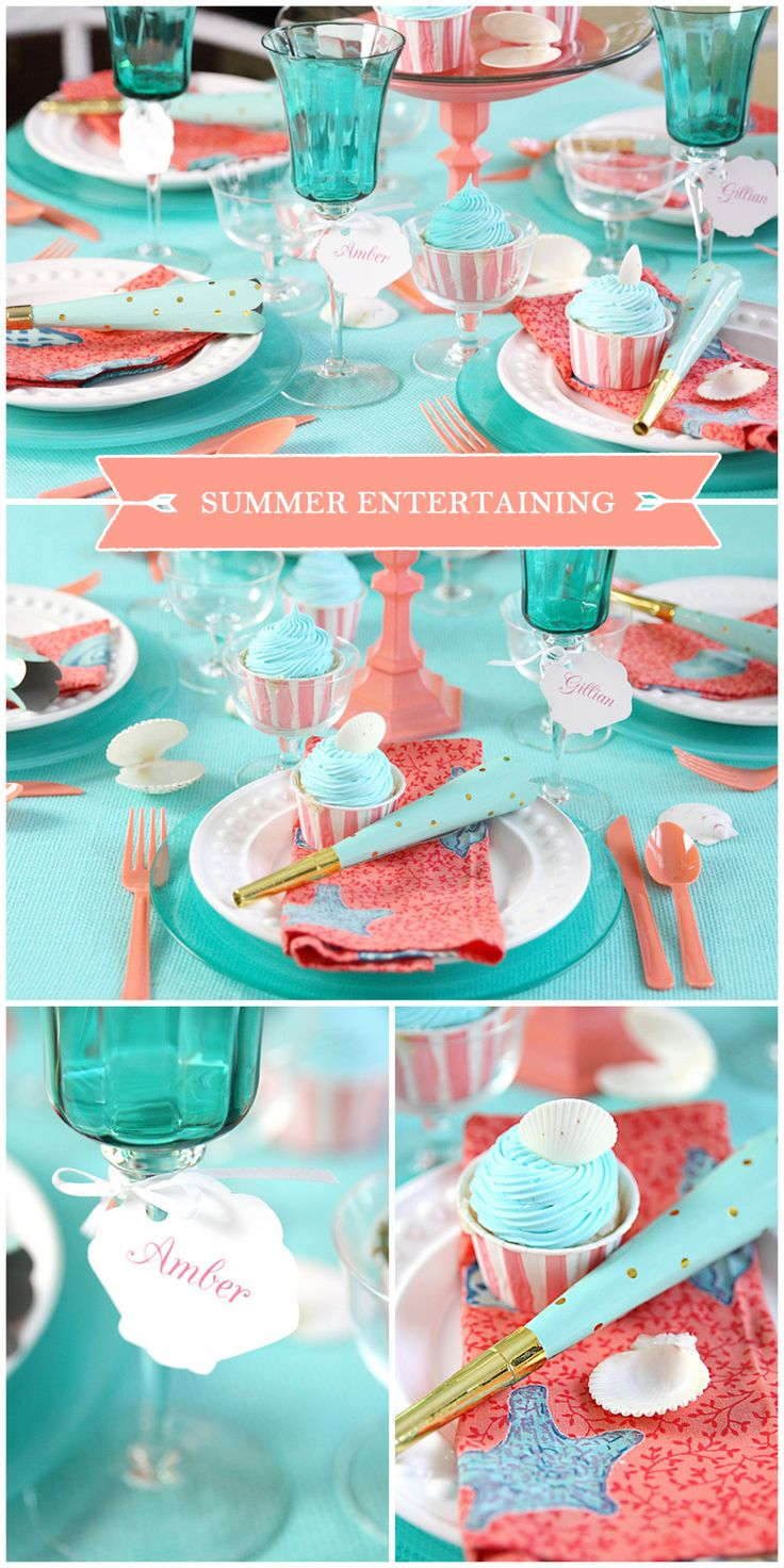 Summer Entertaining with Coral and Blue