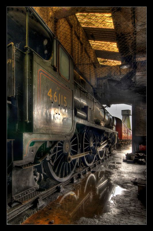 """In the Shed"" Steam Locomotive resting in one of the old engine sheds at Carnforth. Photographer: Simon Bull"