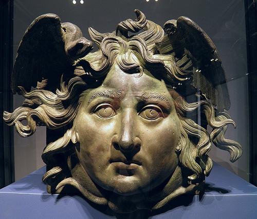 The Gorgon Medusa, Roman decoration (bronze), 1st century AD, (Palazzo Massimo alle Terme, Rome).