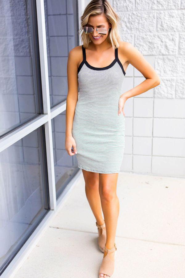 07989db95 Spandex Fabric, Black Trim, Pants Outfit, Dress Outfits, Black Stripes, Tank