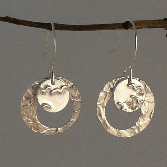 Sterling Silver Double Botanical Circle Earrings on Etsy