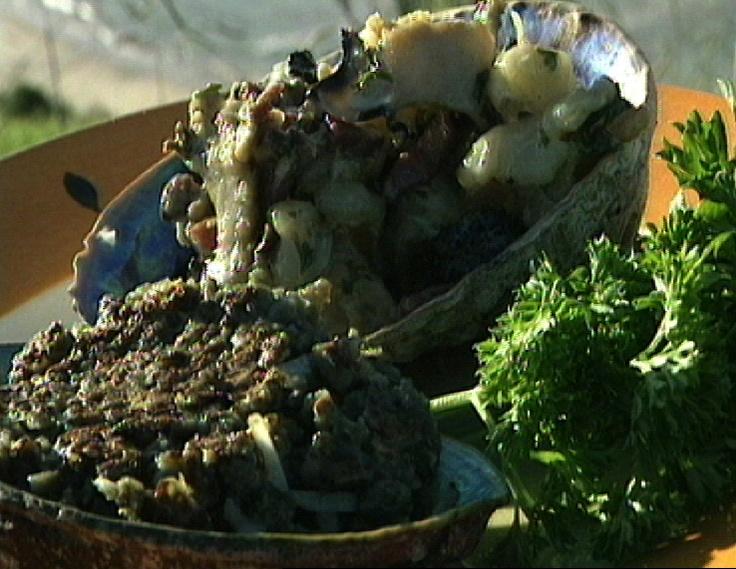 Paua Fritters, Creamed Paua, Shrimps and Mushrooms
