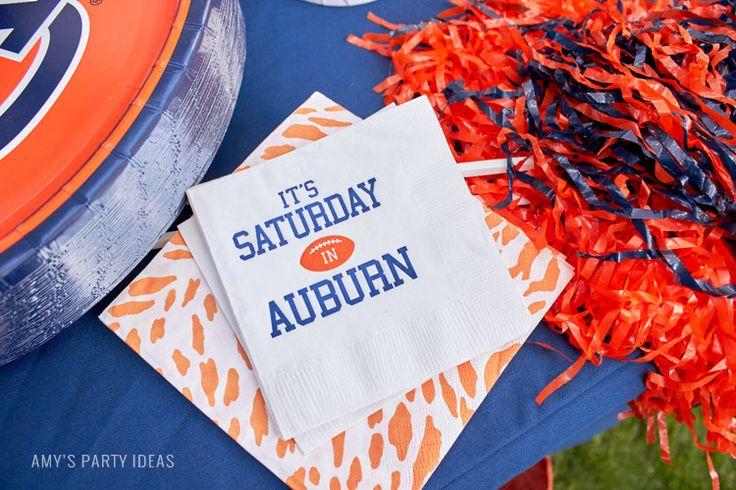 Personalized Napkins   It's Saturday in Auburn   Auburn Football Tailgate Ideas   Saturday down South   Football Tailgating   Football Watch Party   AmysPartyIdeas.com   Swooies.com