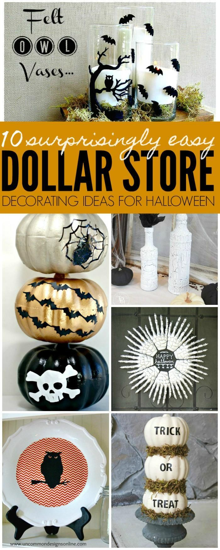 Dollar Store Halloween Decorating Ideas help save you money this Halloween by creating Halloween Decorations out of Dollar Store Halloween Items.