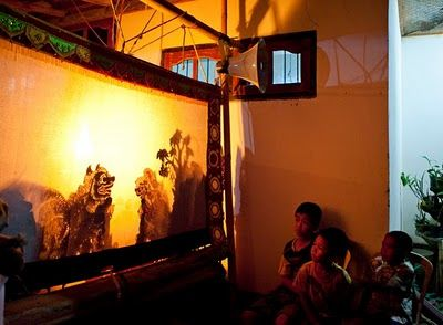 Wayan Kulit, the traditional Balinese shadow puppet play. Here performed at a 3-month ceremony in our village of Kayuputih