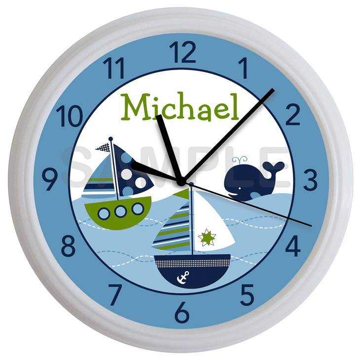 Blue and Green Nautical Sailboat Whale Personalized by cabgodfrey2, $15.99