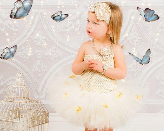 Crema primer cumpleaños tutú traje niña de las flores tela