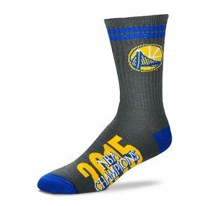 Golden State Warriors For Bare Feet Two Stripe Champs Socks - Grey