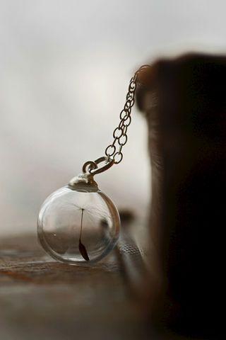 Dandelion seed orb necklace - Simple silver pendant