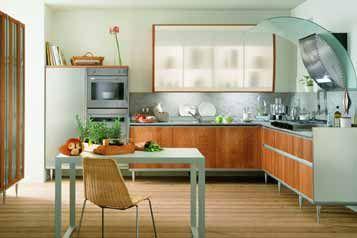Kitchen:Modern Kitchen Rectangular Blue Dining Table Rattan Dining Chair Refrigerator Oven Medium Brown Teak Wood Kitchen Island $250 Robert...