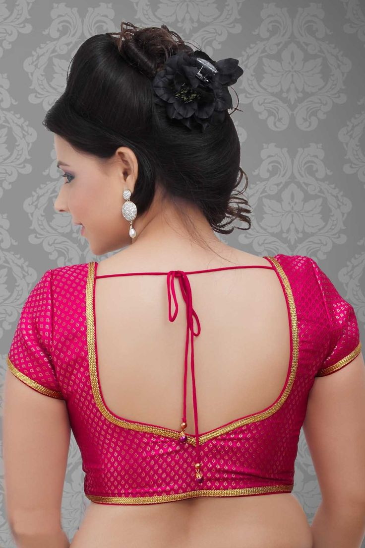 Blouse designs saree blouse back designs blouses neck designs 30 jpg - Banarasi Pink Designer Blouse With Plain Work New Fashion Trends